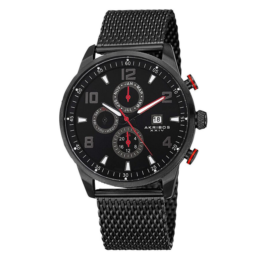 akribos xxiv male akribos xxiv black dial mens multifunction mesh watch ak784bk
