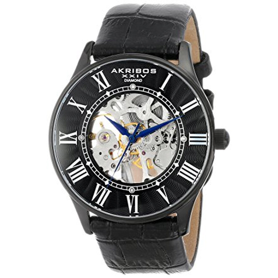 akribos xxiv male akribos xxiv black skeleton dial mens leather watch ak499bk
