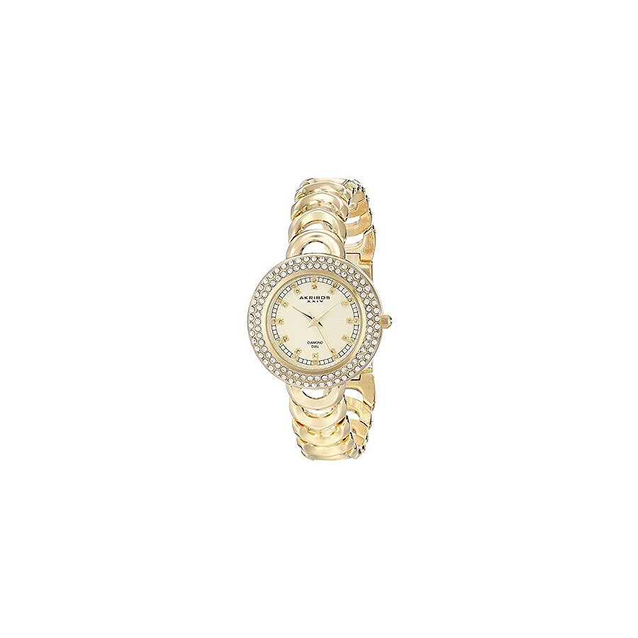 akribos xxiv female akribos xxiv empire ladies goldtone bangle watch ak804yg