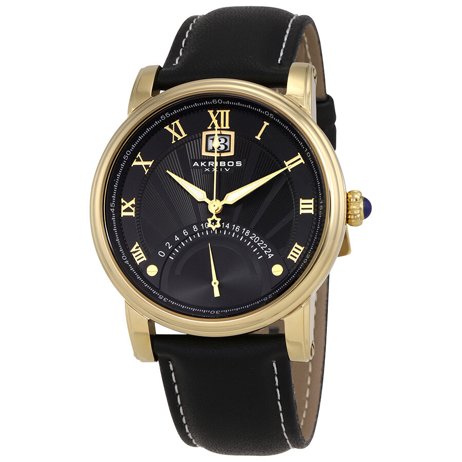 akribos xxiv male akribos xxiv essential black dial mens leather watch ak913yg