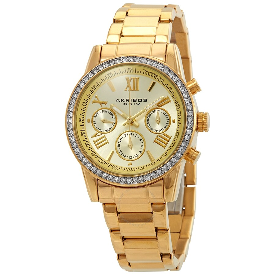 akribos xxiv female akribos xxiv glimmer gold tone dial ladies multifunction watch ak872yg