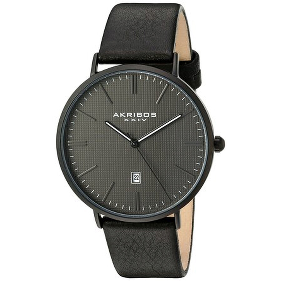 akribos xxiv male akribos xxiv grey dial black leather mens watch ak935bk