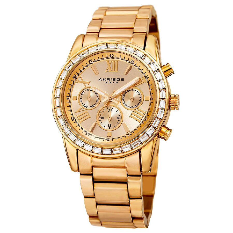 akribos xxiv male akribos xxiv lumin gold dial multifunction mens watch ak943yg