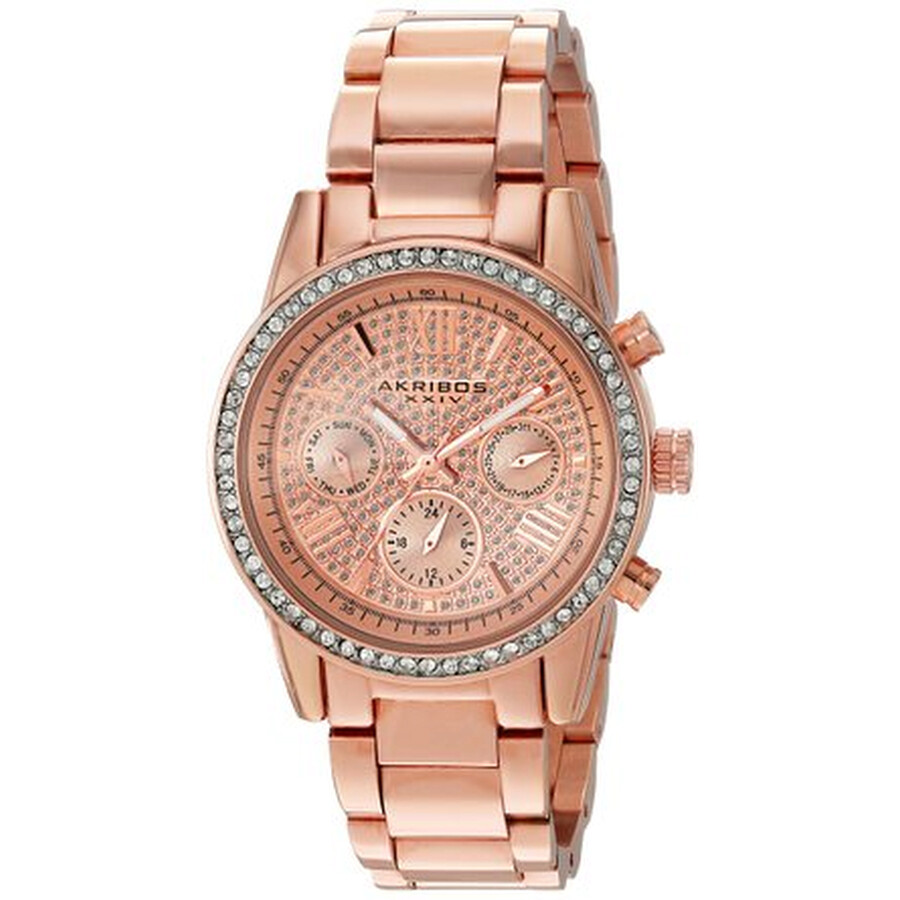 akribos xxiv female akribos xxiv lumin rose gold crystal pave dial ladies watch ak926rg