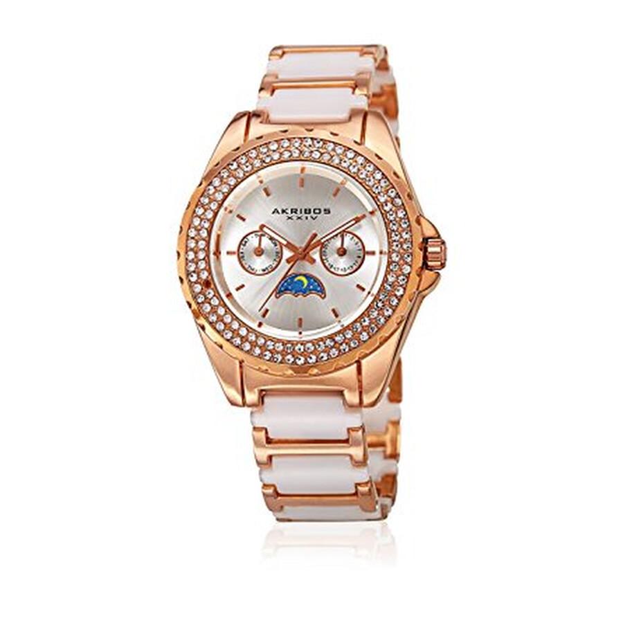 Akribos XXIV Silver Dial Rose Gold-Tone Ceramic Ladies Watch AK961RGWT