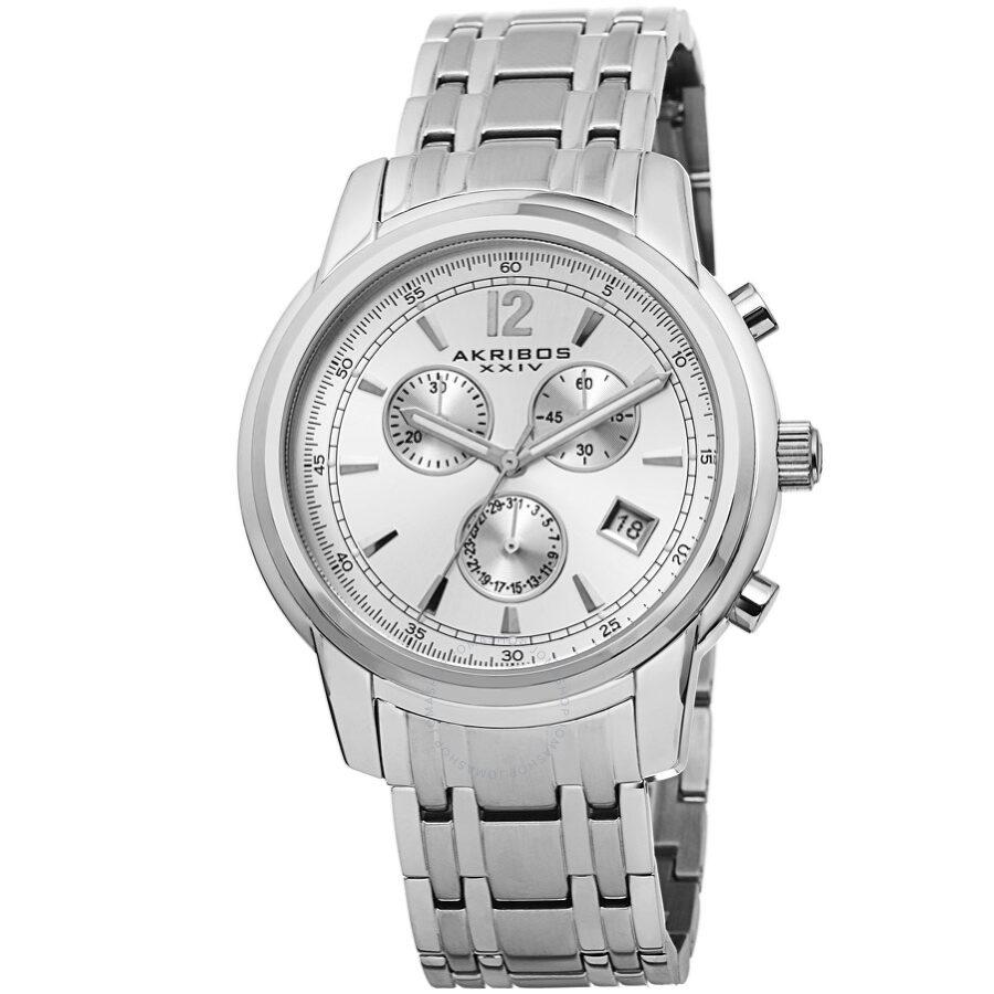 Akribos XXIV Chronograph Silver Dial Mens Watch AK692SSW