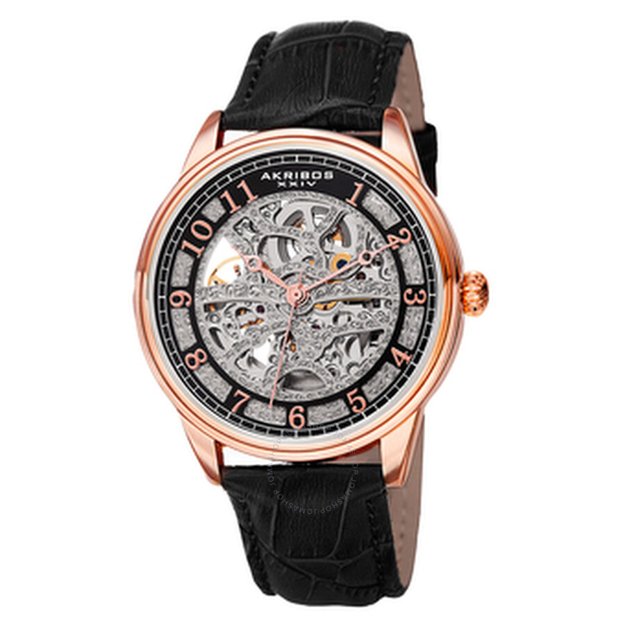 akribos xxiv male akribos xxiv spirit silver skeleton dial mens leather watch ak807rg