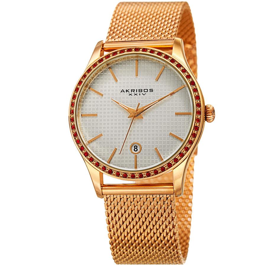 Akribos XXIV White Square-Textured Dial Ladies Gold Tone Watch AK967YG