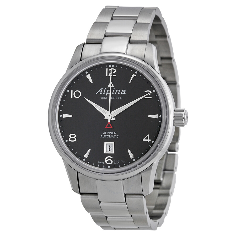 Alpina Alpiner Automatic Black Dial Stainless Steel Mens Watch AL - Alpina automatic watch