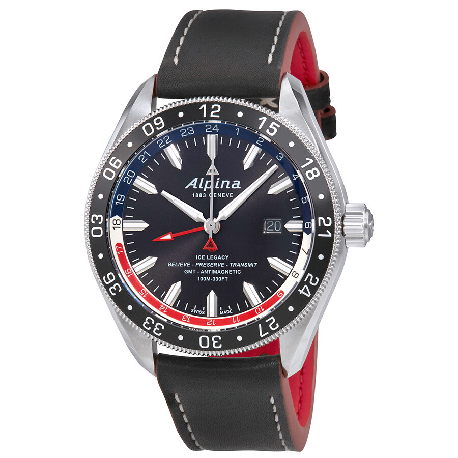 Alpina Alpiner Black Dial Automatic Mens GMT Watch ALGRNAQ - Alpina gmt