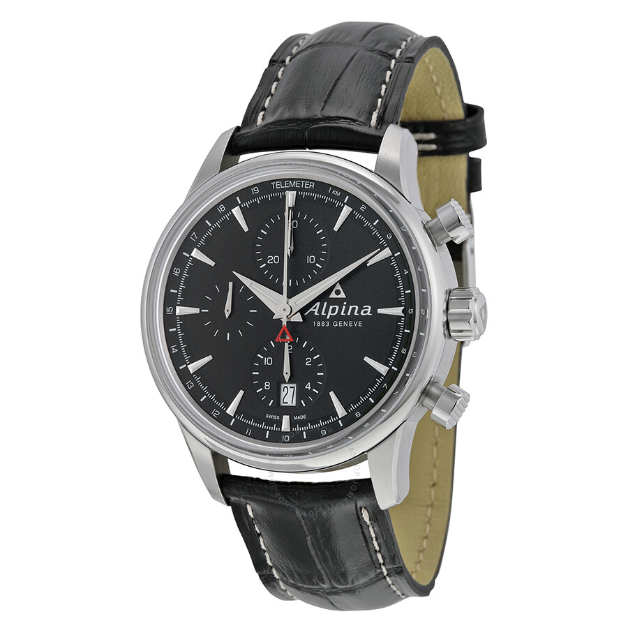 Alpina Alpiner Chronograph Automatic Black Dial Black Leather Mens - Alpina geneve