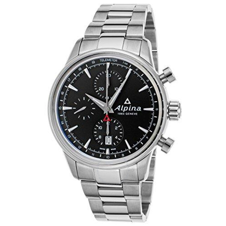 Alpina Alpiner Chronograph Automatic Black Dial Steel Mens Watch AL-750B4E6B