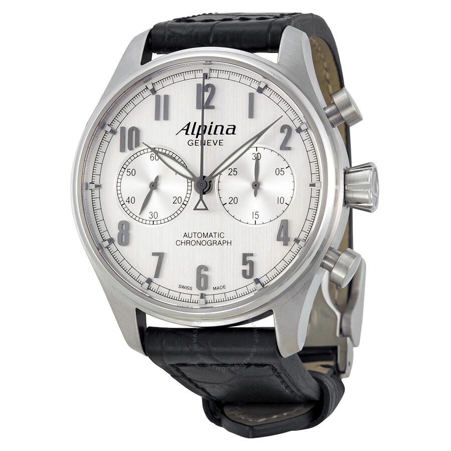Alpina Automatic Chronograph Silver Dial Black Leather Mens Watch - Alpina automatic watch