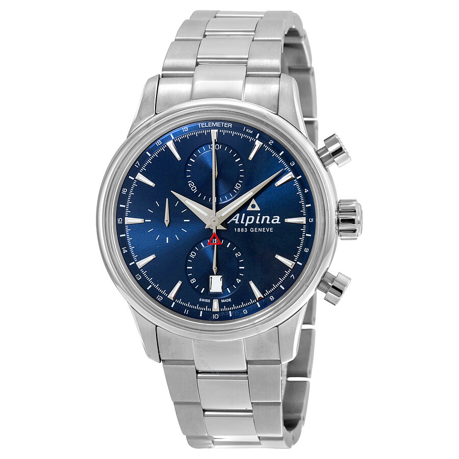 Alpina Chronograph Sunray Navy Dial Stainless Steel Mens Watch AL-750N4E6B