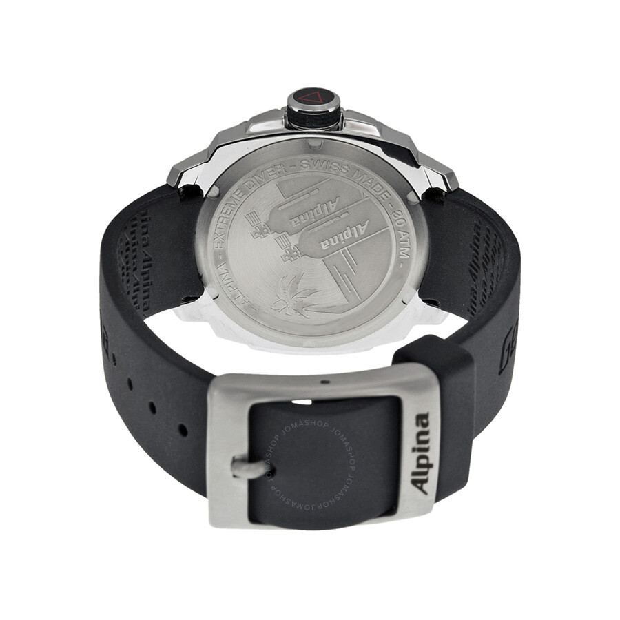 Alpina Extreme Diver 300 Black Dial Black Rubber Strap Ladies Watch ...