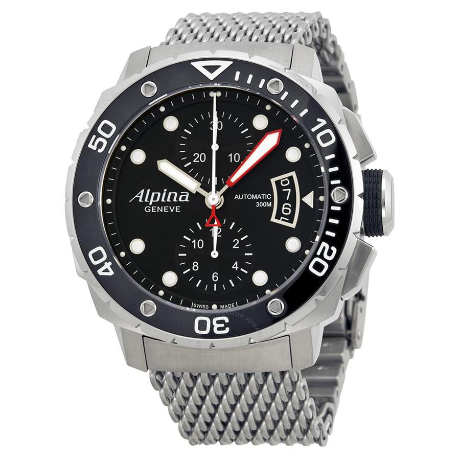 Alpina Extreme Diver Black Dial Chronograph Mens Watch - Alpina diver