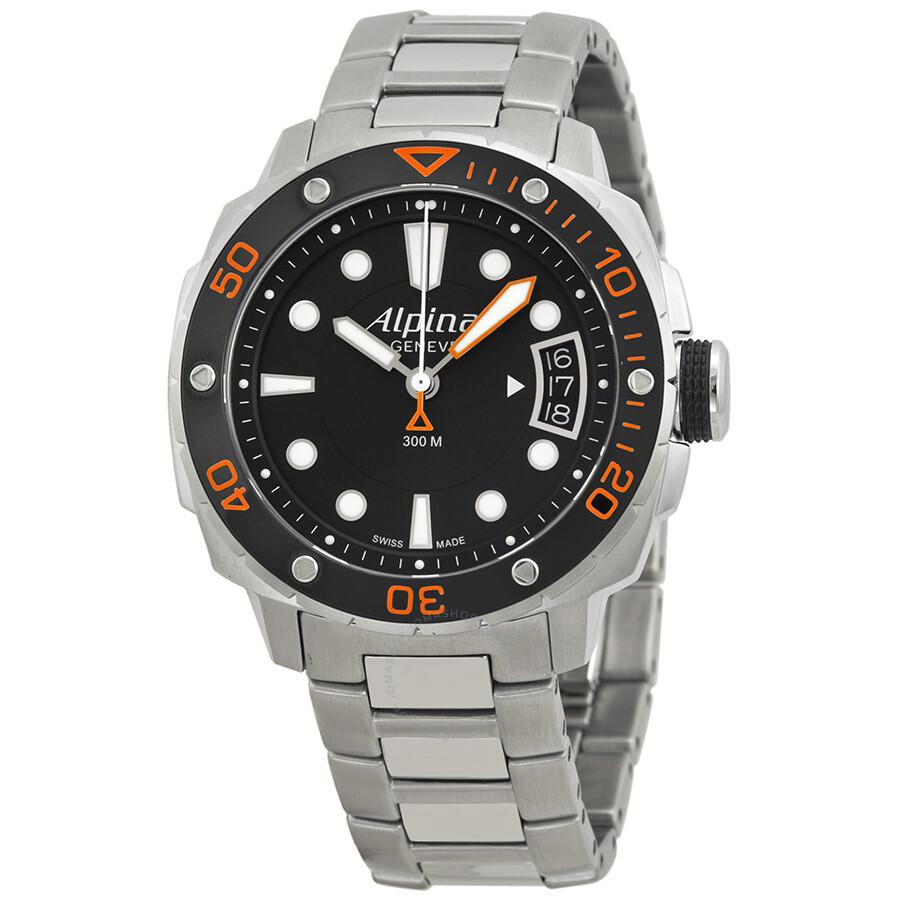 Alpina Extreme Diver Black Dial Steel Bracelet Ladies Watch - Alpina diver