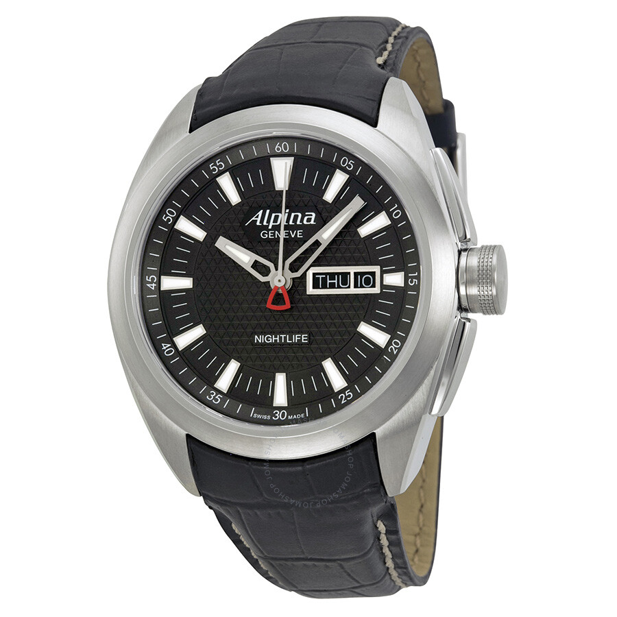 Alpina Nightlife Club Day Date Black Dial Black Leather Strap Mens - Alpina watch reviews