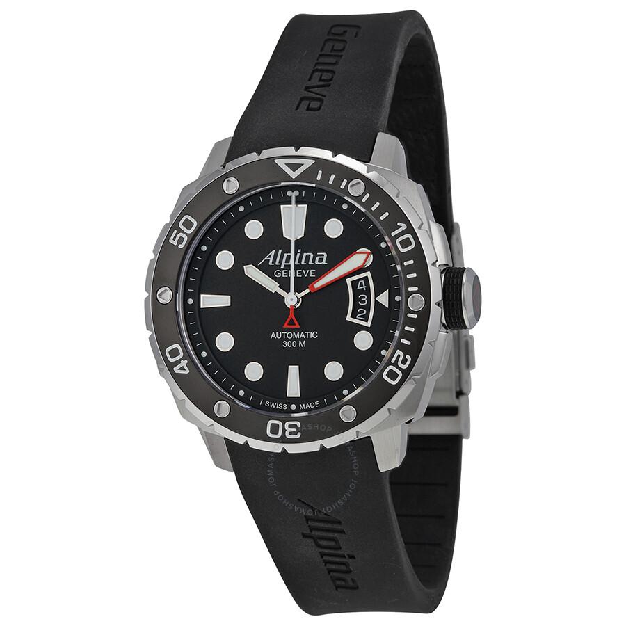 Alpina Seastrong Diver Automatic Black Dial Rubber Mens Watch - Alpina diver