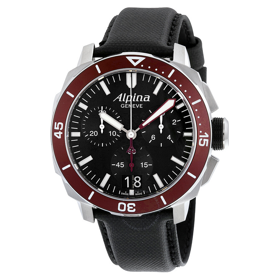 Alpina Seastrong Diver 300 Big Date Chronograph Black Dial Black Leather Mens Watch AL-372LBBRG4V6