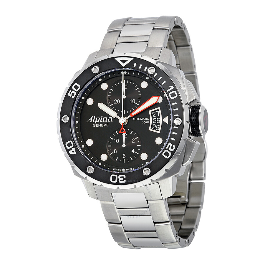 Alpina Seastrong Diver Chronograph Black Dial Steel Mens Watch - Alpina diver watch