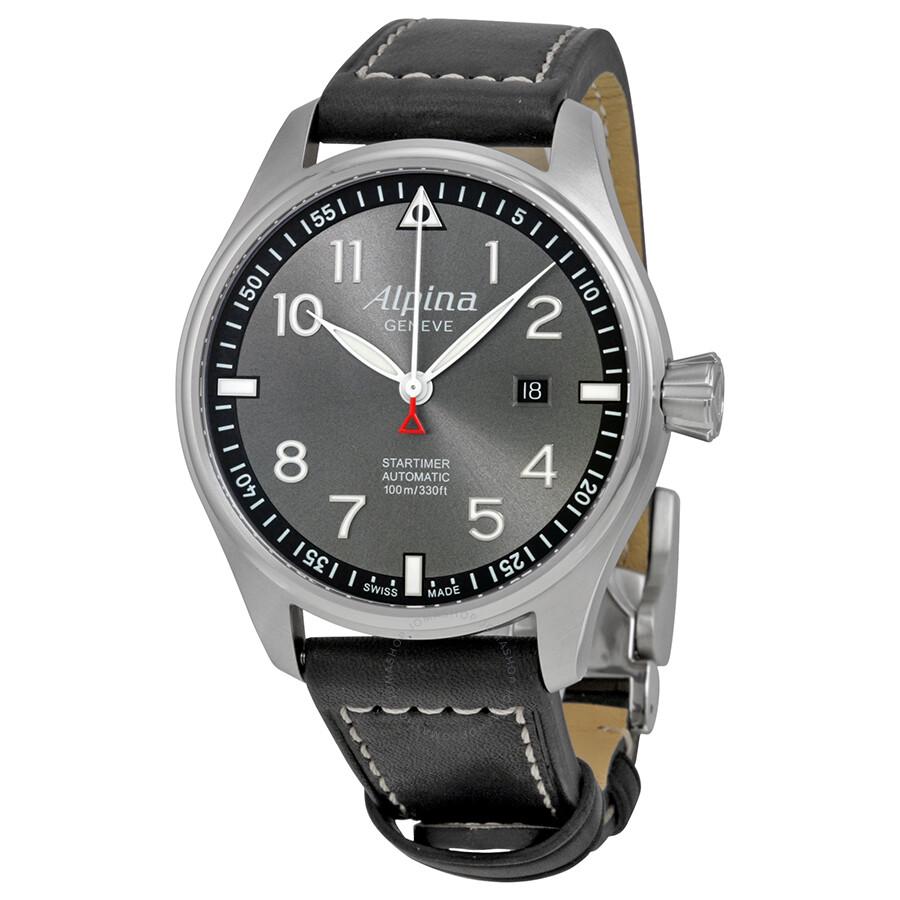 Alpina Startimer Pilot Automatic Grey Dial Black Leather Mens Watch - Alpina automatic watch