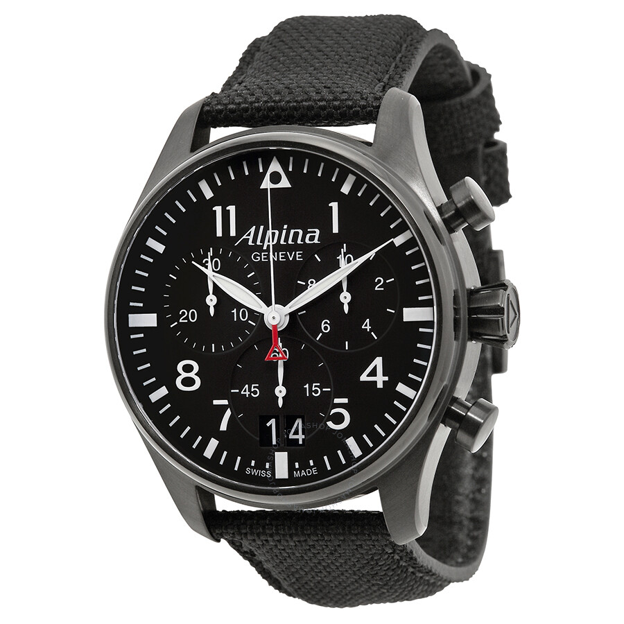 Alpina Startimer Pilot Black Dial Black Fabric Strap Mens Watch - Alpina startimer