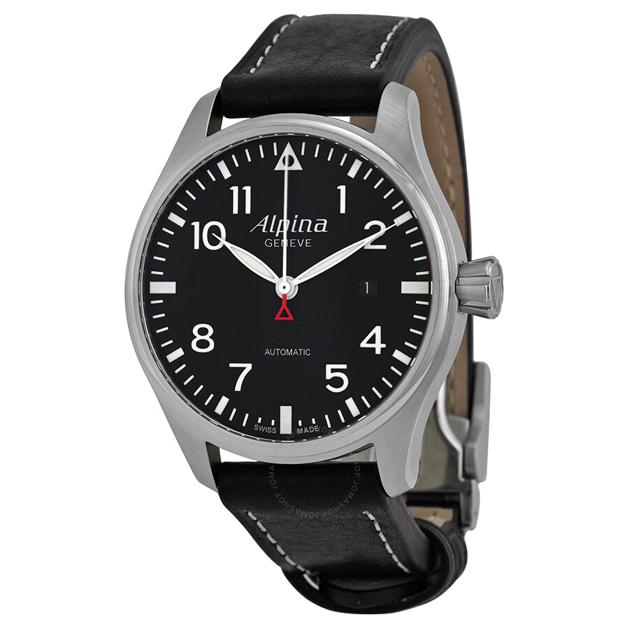 Alpina Startimer Pilot Black Dial Black Leather Strap Mens Watch - Alpina startimer