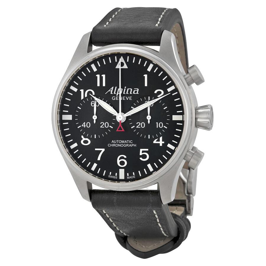 Alpina Startimer Pilot Chronograph Black Dial Automatic Mens Watch - Alpina automatic watch