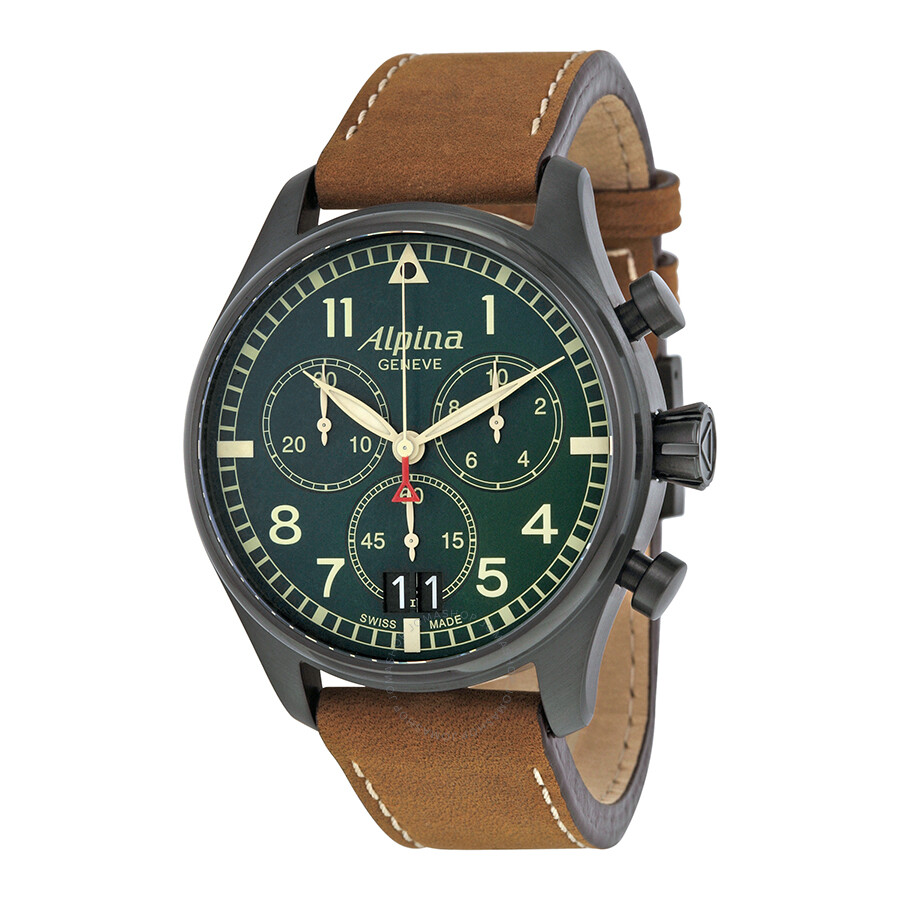 Alpina Startimer Pilot Chronograph Green Dial Mens Watch AL - Alpina startimer