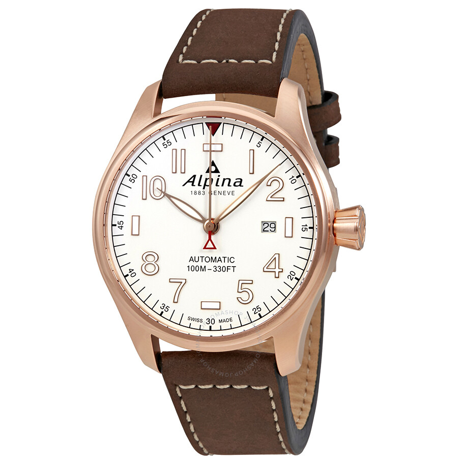 Alpina Startimer Pilot White Dial Automatic Mens Leather Watch AL-525S4S4