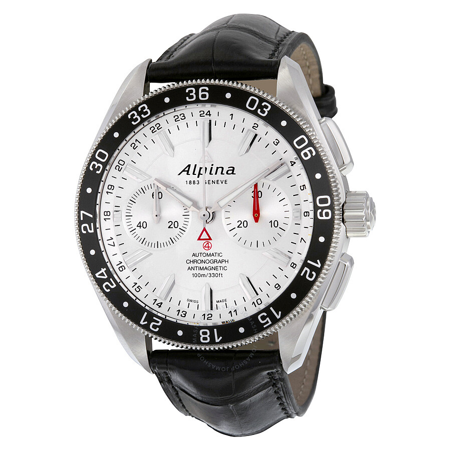 Alpina Alpiner 4 Chronograph Automatic Silver Dial Black Leather Mens Watch AL-860S5AQ6