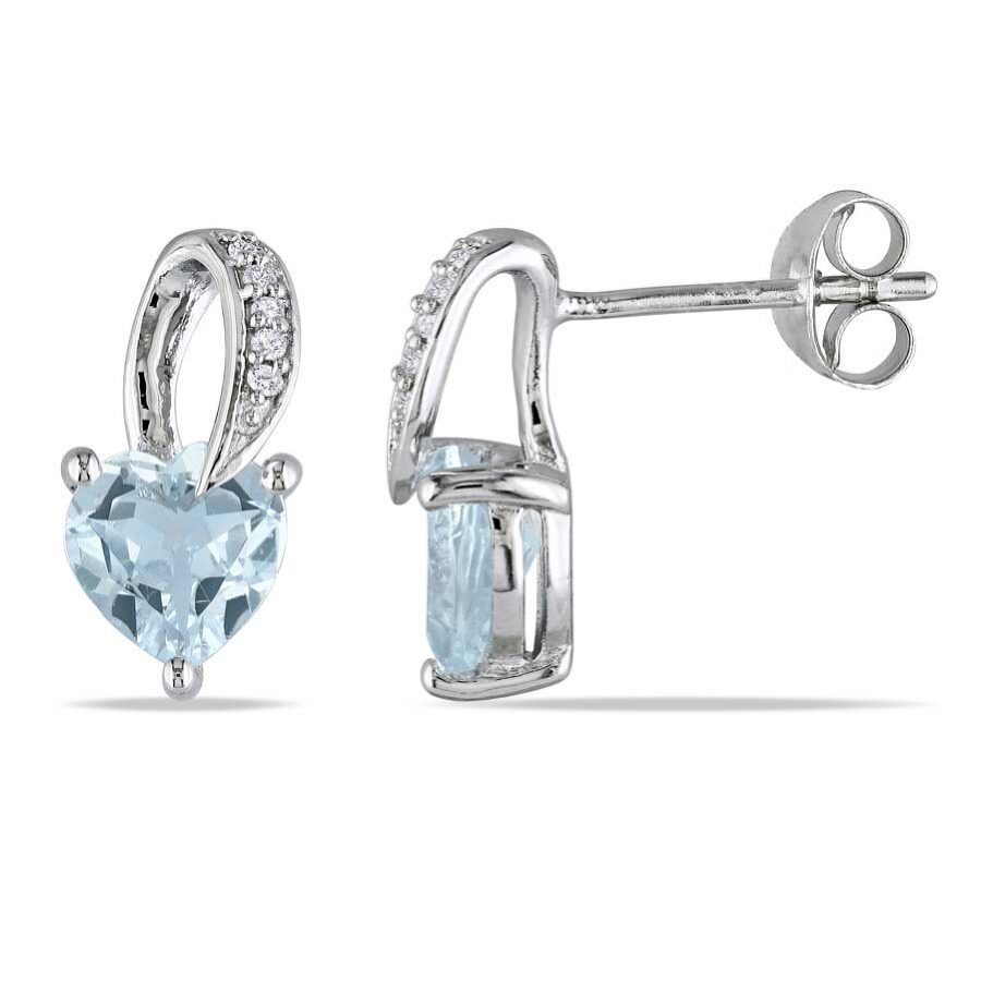 Amour 0.03 CT Diamond TW And 1 1/3 CT TGW Aquamarine Earrings JMS003160