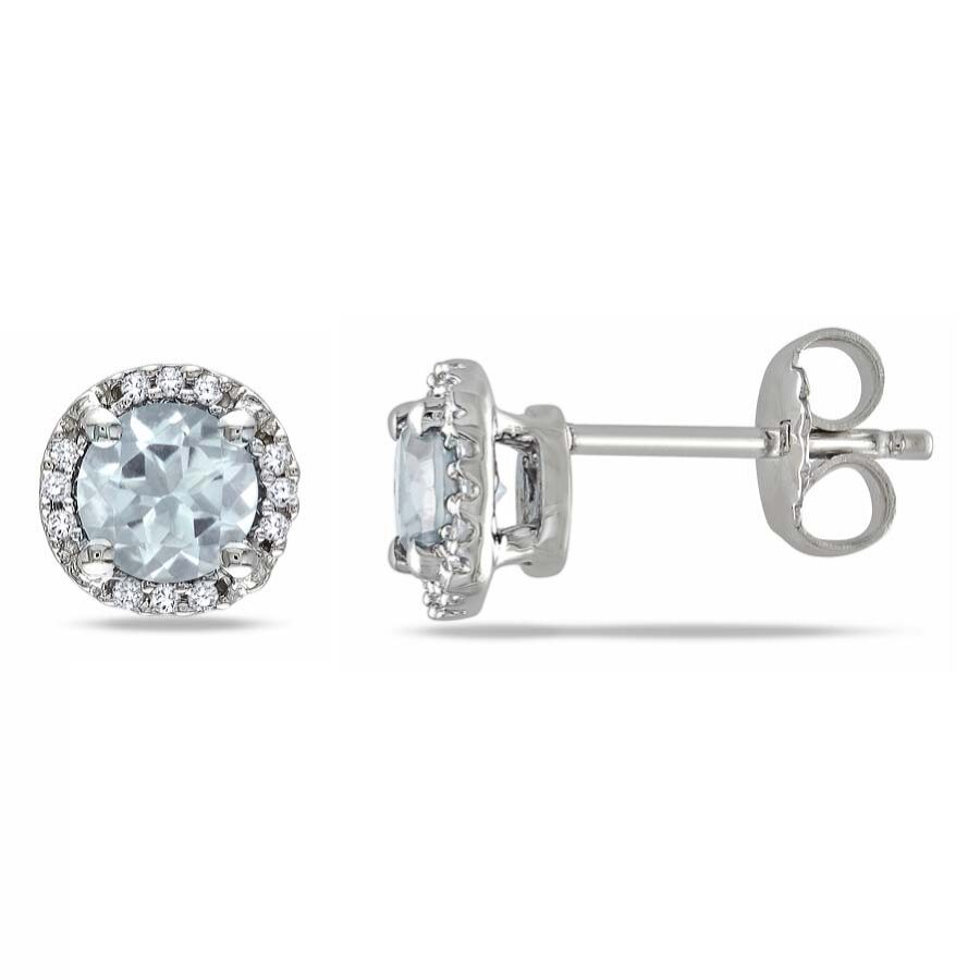 Amour 0.07 CT Diamond TW And 4/5 CT TGW Aquamarine Earrings JMS003161