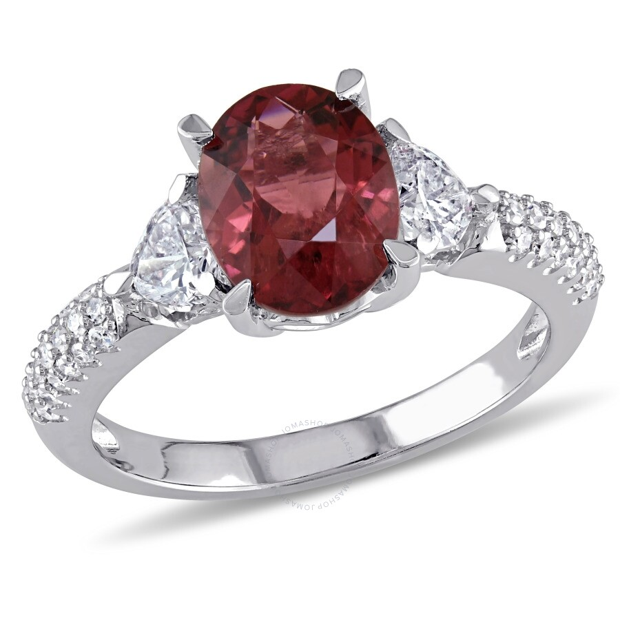 Amour 0.67 CT Round and Heart Diamonds TW And 2 CT TGW Pink Tourmaline-CN Fashion Ring 14k