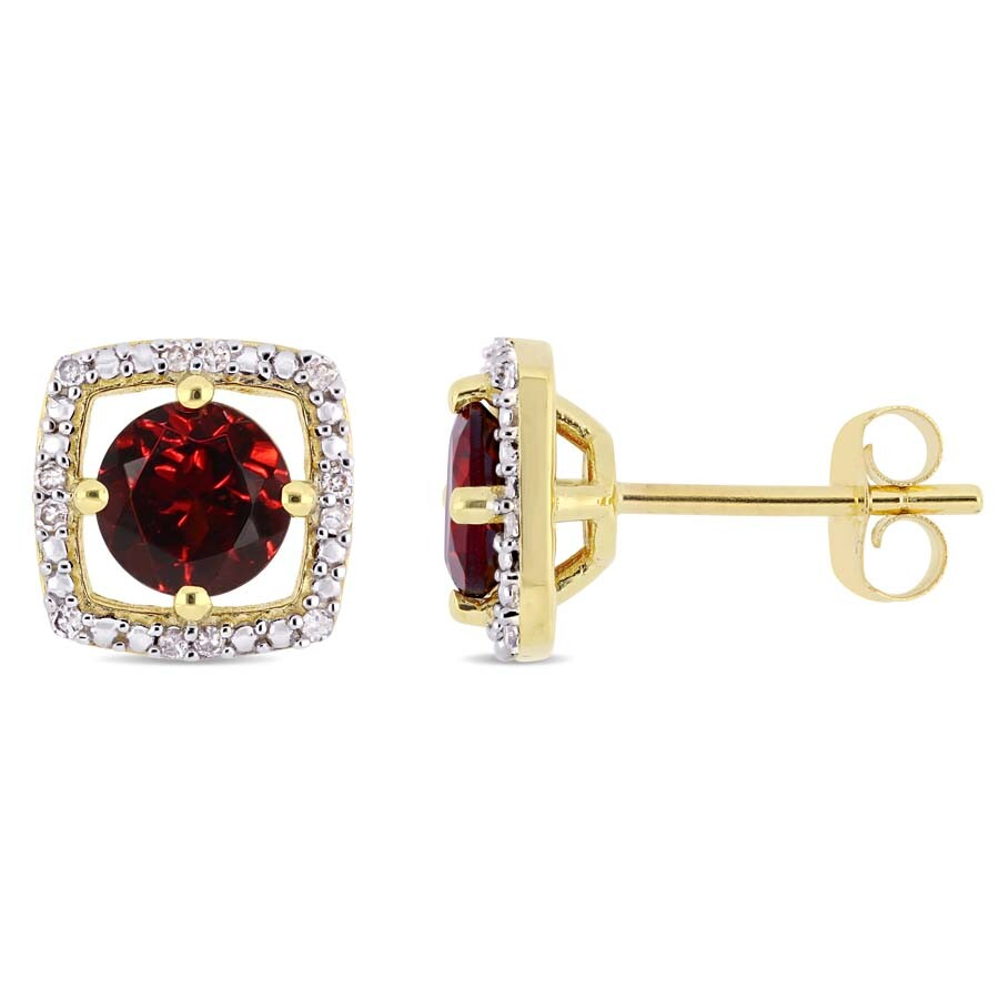 Amour 1 1/5 CT TGW Garnet and Diamond Halo Square Stud Earrings in 10k Yello..