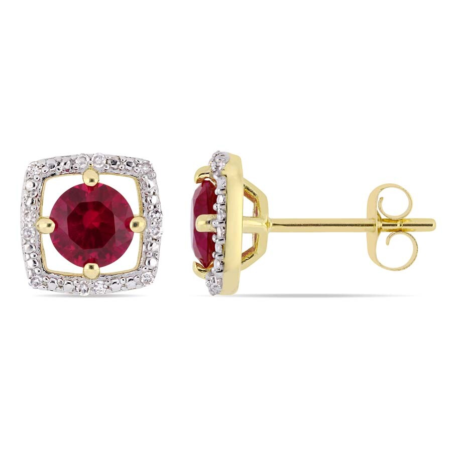 Amour 1 1/6 CT TGW Created Ruby and Diamond Accent Square Stud Earrings in 1..