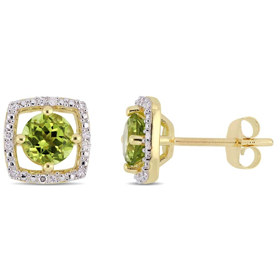 Amour 1 1/8 CT TGW Peridot and Diamond Square Stud Earrings in 10k Yellow Go..