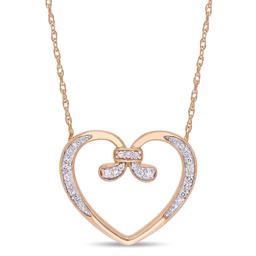 Amour 1/10 CT TW Diamond Vintage Open Heart Necklace in 10k Rose Gold