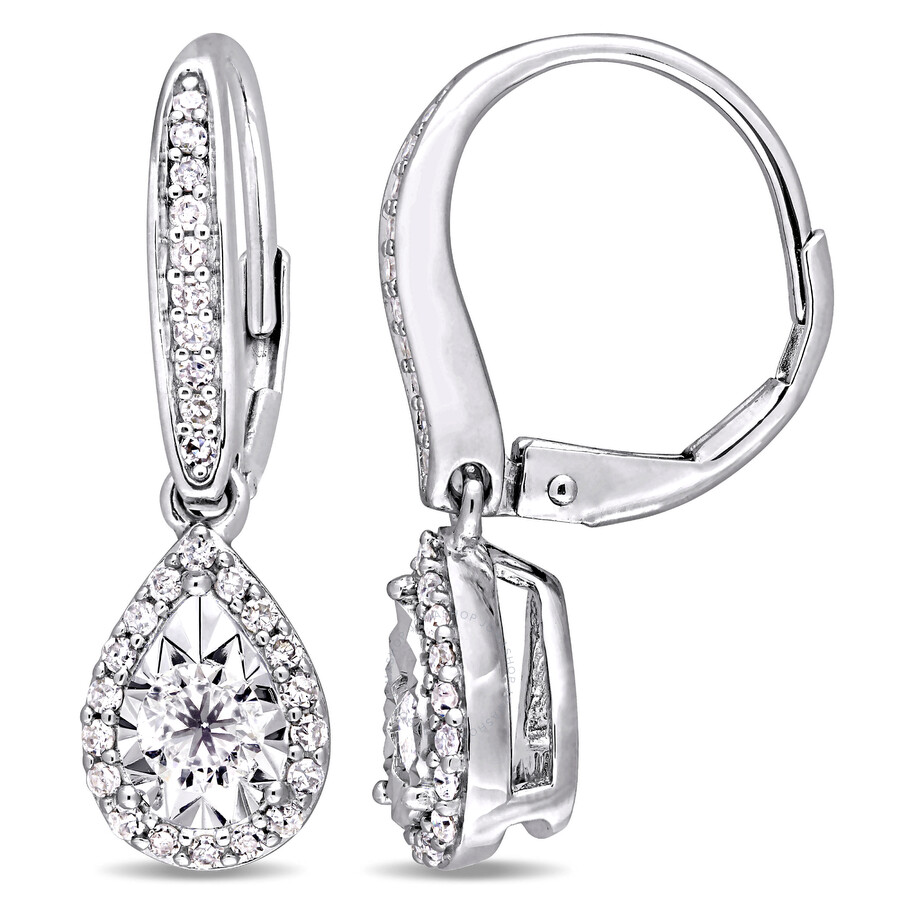 silver sterling amour heart leverback halo tw diamond ct in earrings