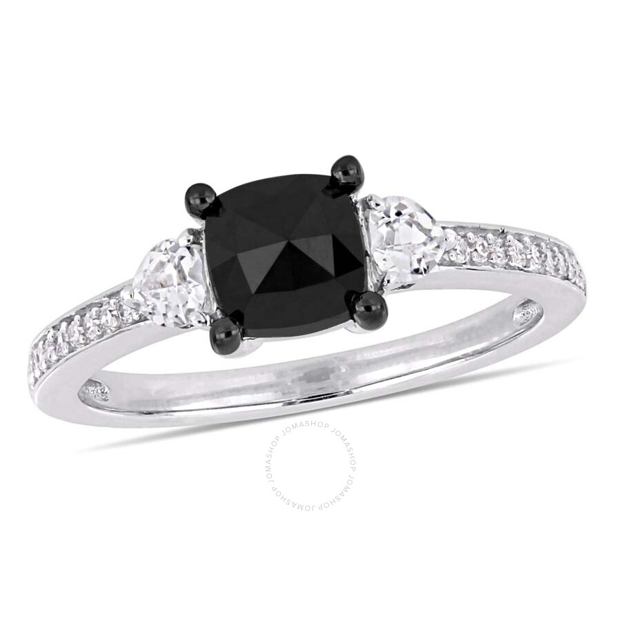 Amour 1/3 CT TGW White Sapphire and 1 1/10 CT TW Black Diamond Engagement Ri..