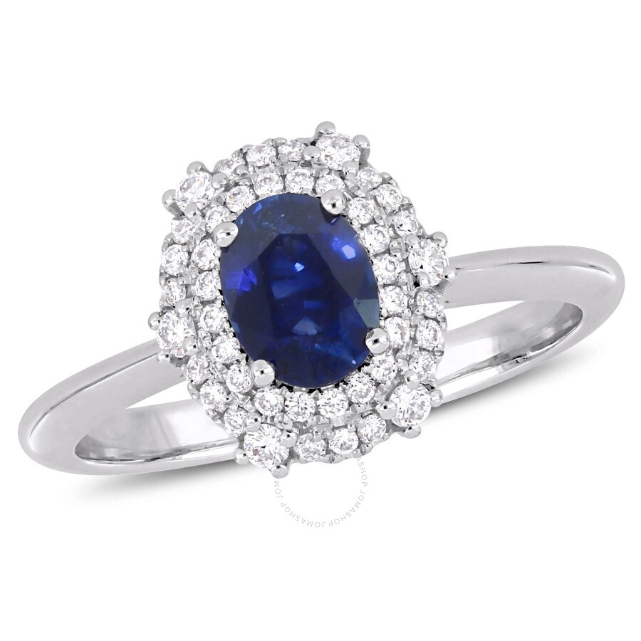 Amour 1/4 CT Diamond TW And 7/8 CT TGW Blue Sapphire - CN Fashion Ring 14k W..