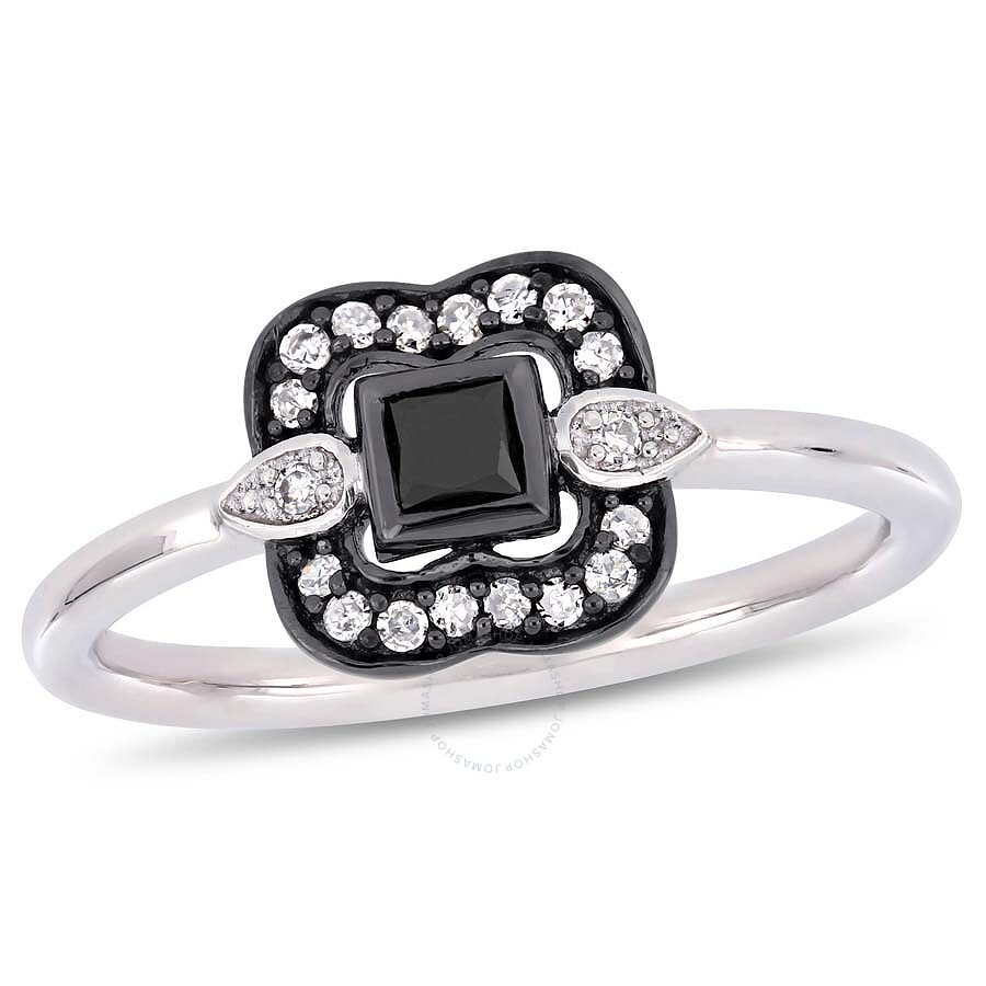 Amour 1/4 CT TW Black and White Princess and Round-Cut Diamond Bohemian Ring..