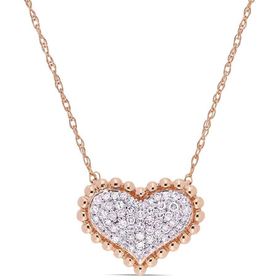 Amour 1/4 CT TW Diamond Clustered Heart Halo Necklace in 10k Rose Gold