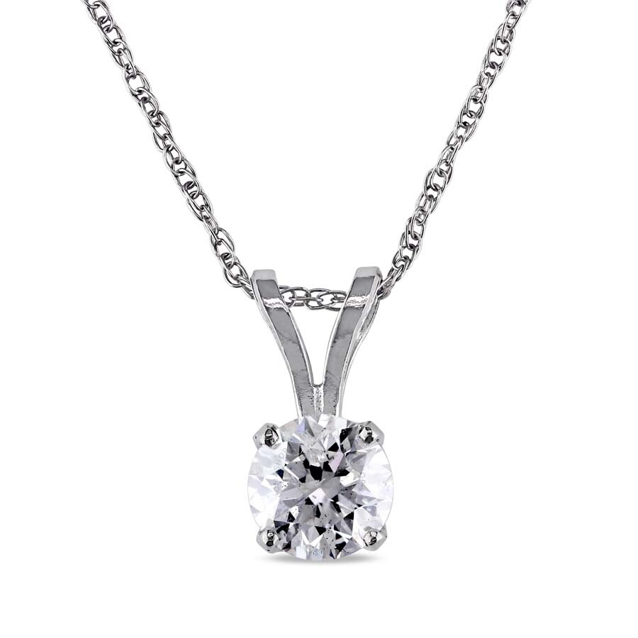 Amour 14 ct tw diamond solitaire pendant with chain in 14k white amour 14 ct tw diamond solitaire pendant with chain in 14k white gold jms003201 aloadofball Choice Image