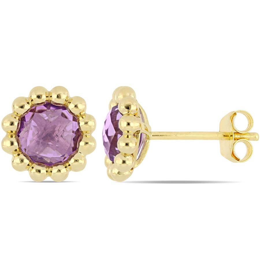 Amour 1 5/8 CT TGW Amethyst Floral Beaded Halo Stud Earrings in 10k Yellow G..