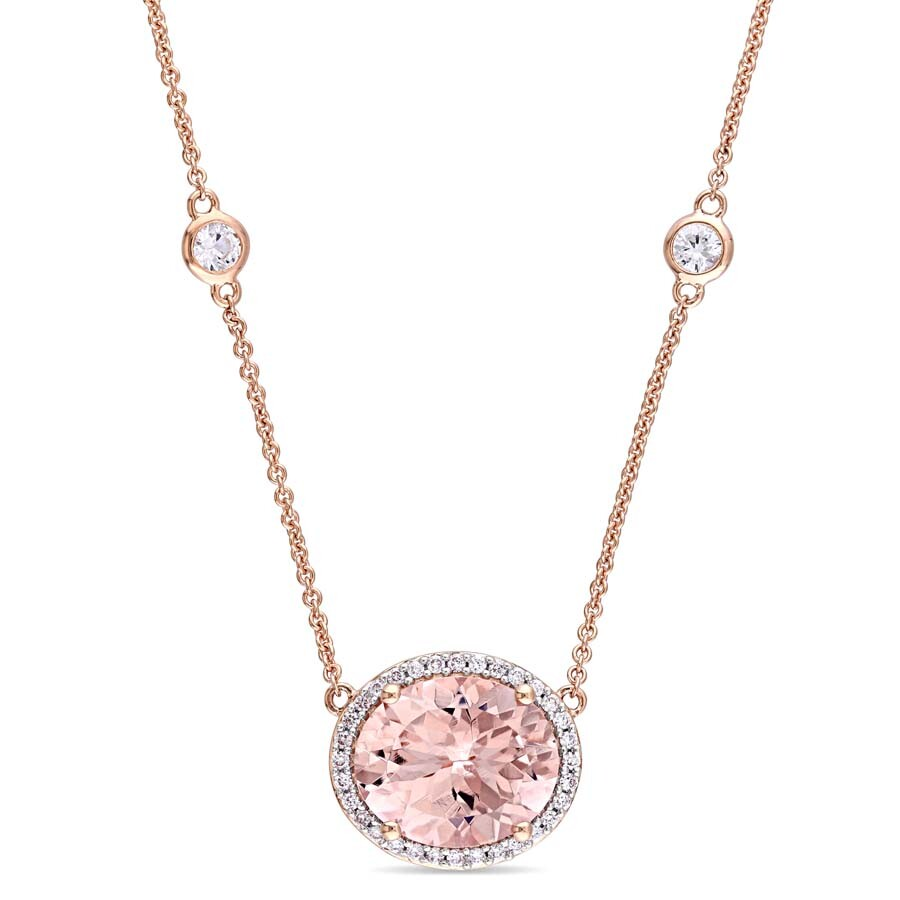 Amour 1/6 CT TW Diamond and 4 4/5 CT TGW Morganite and White Sapphire Halo Station Neklace