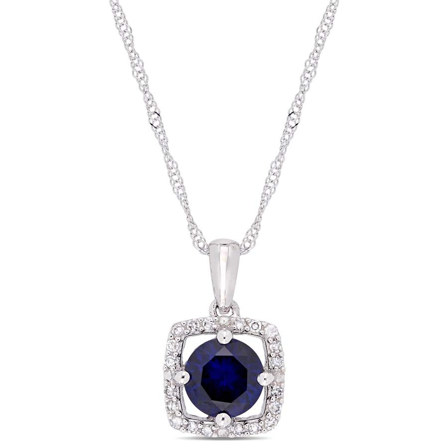 Amour 1 CT TGW Created Blue Sapphire and 1/10 CT TW Diamond Halo Square Drop..