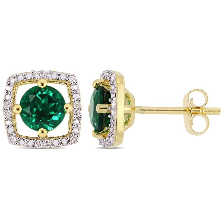 Amour 1 CT TGW Created Emerald Diamond Square Stud Earrings in 10k Yellow Go..
