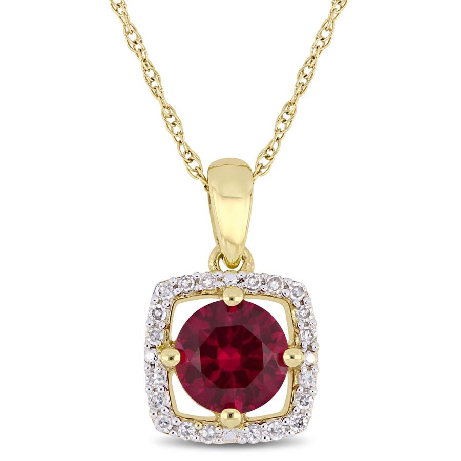 Amour 1 CT TGW Created Ruby and 1/10 CT TW Diamond Halo Square Pendant with ..